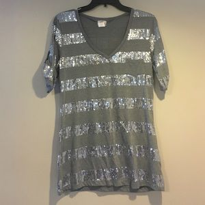 Grey and sequined shirt